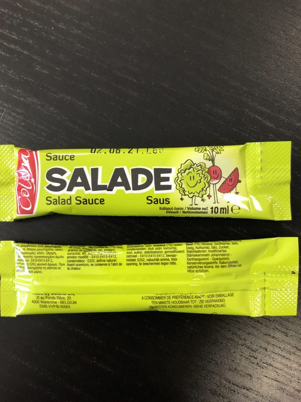 dosette sauce salade présentation des mentions de l'emballage sur les deux faces
