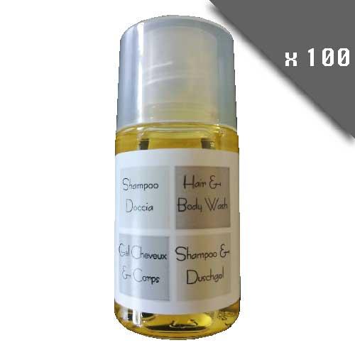 lot de 100 Gel douche corps et cheveux SANS PARABENE - testé dermatologiquement