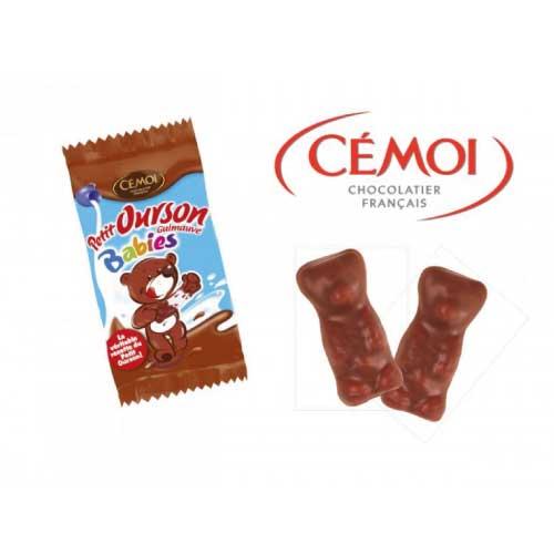 Lot de mini oursons chocolat guimauve cémoi
