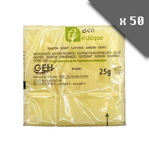 Lot de 50 savons rectangulaires écologique éthique 25g