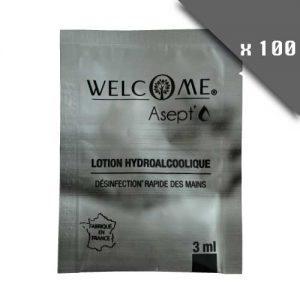 Lot de 100 dosettes individuelles de Lotion hydroalcoolique