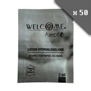Lotion hydroalcoolique 3ml - Lot de 50 plis. Désinfection rapide des mains. Gel hydroalcoolique qui ne colle pas les mains.